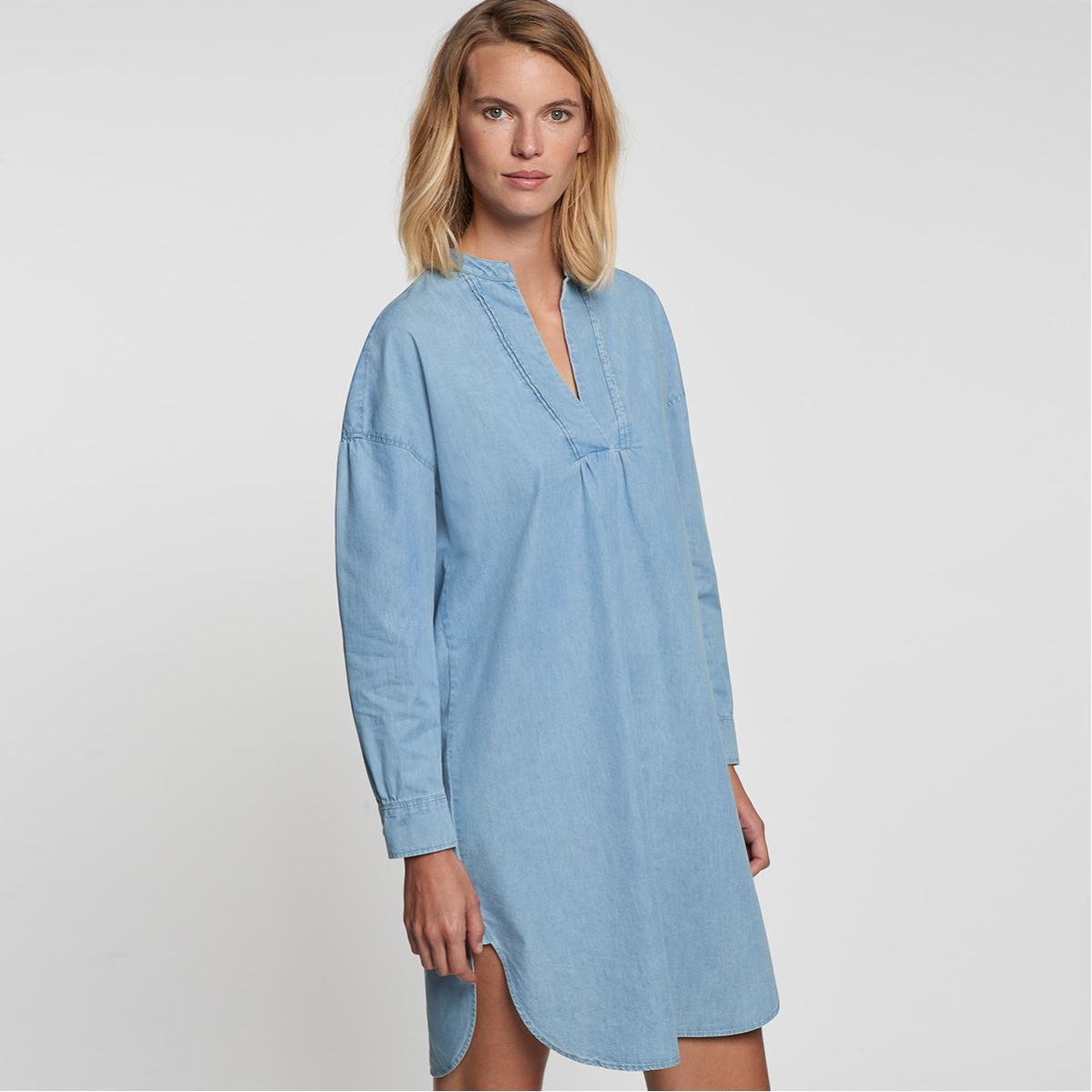 Robe-chemisier denim bleu clair