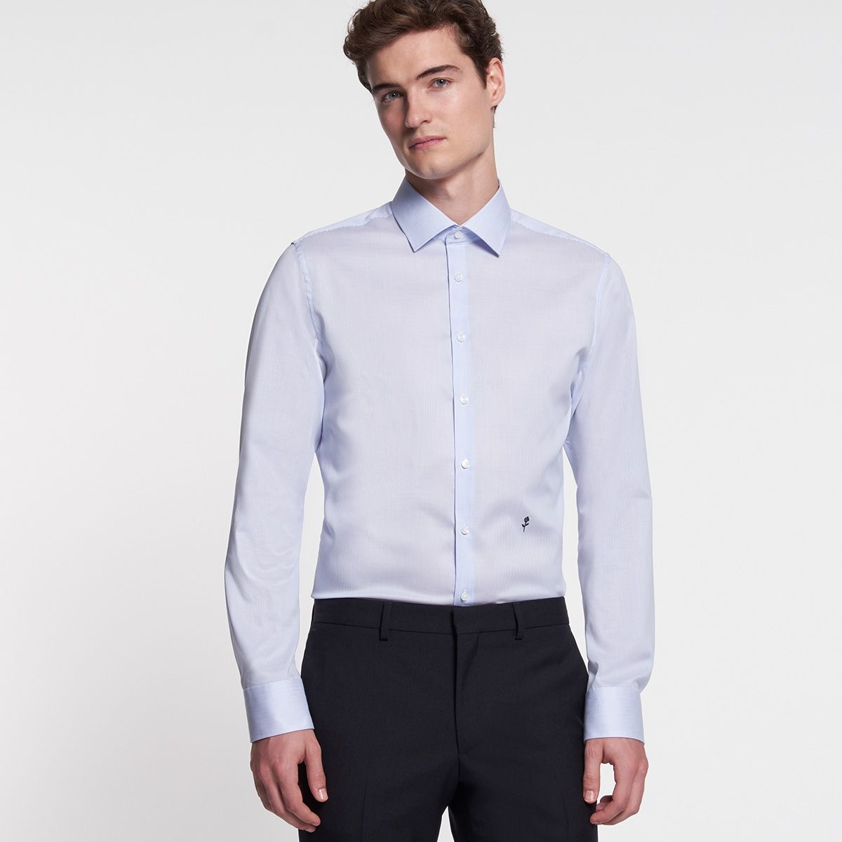 Chemise slim Collector fines  rayures bleu ciel