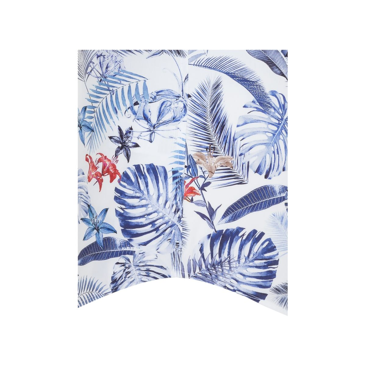 Chemisette slim  capsule LEGGIUNO motif jungle bleu rouge