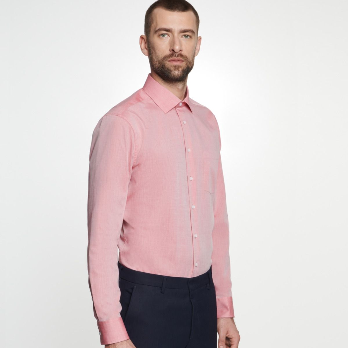 Chemise confort rouge chambray