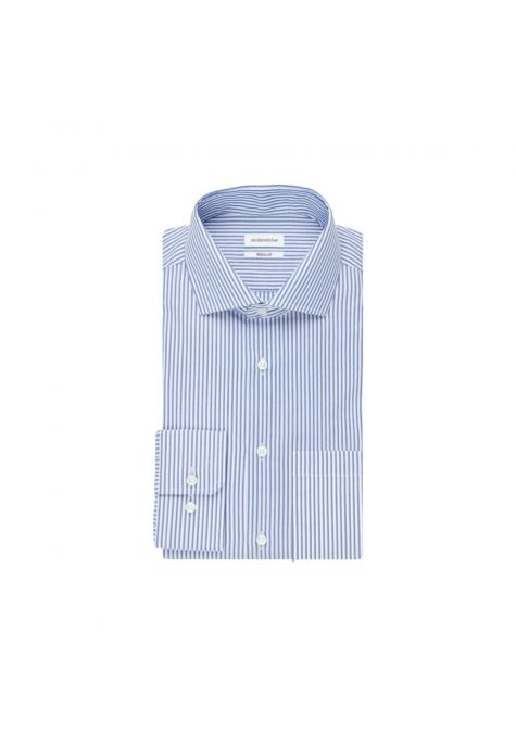 Chemise droite rayures bleues