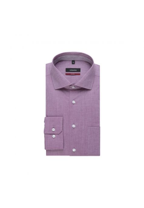 Chemise droite framboise chambray