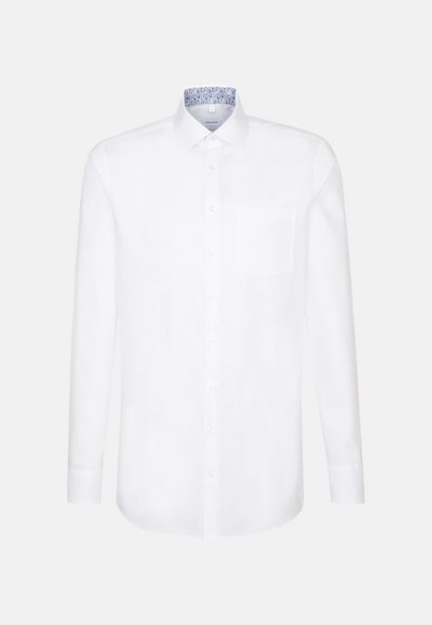 Chemise droite blanche oxford manches extra-longues