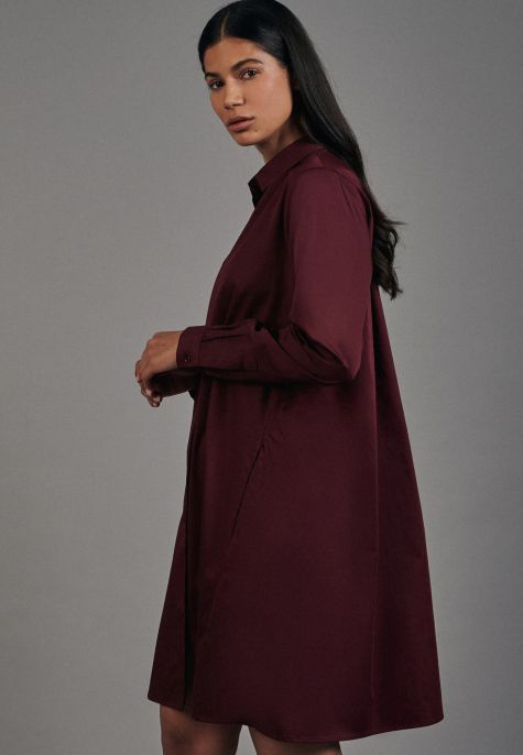 Robe-chemisier bordeaux coton stretch