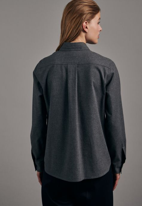 Chemisier flanelle gris anthracite double poches