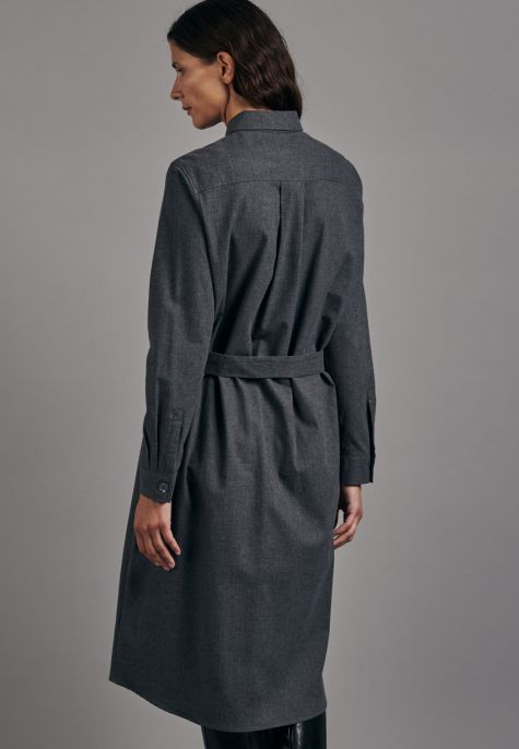 Robe-chemisier flanelle gris anthracite