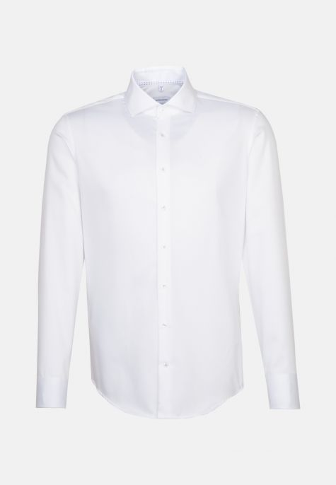 Chemise slim blanche manches extra-longues twill col semi-italien