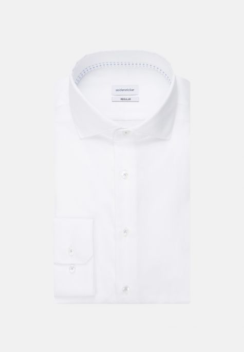 Chemise droite blanche manches extra-longues twill col semi-italien