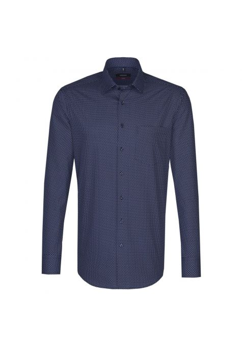 Chemise droite Printed bleu  marine manches extra-longues