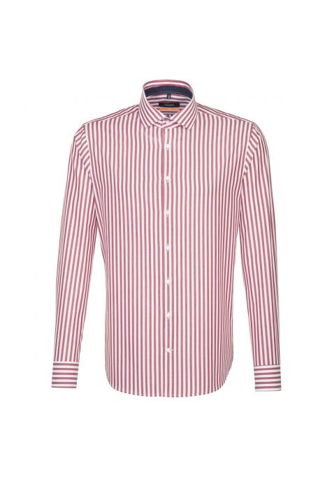 Chemise slim larges rayures rouge lavé