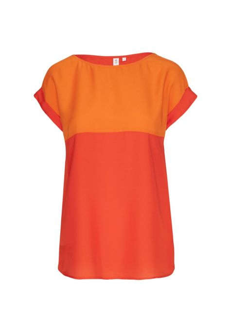 Chemisier sans manches bi-ton rouge orange