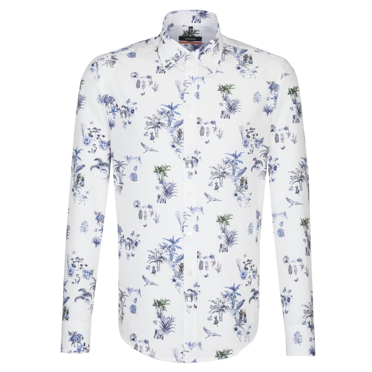 Chemise slim Printed bleue motif jungle