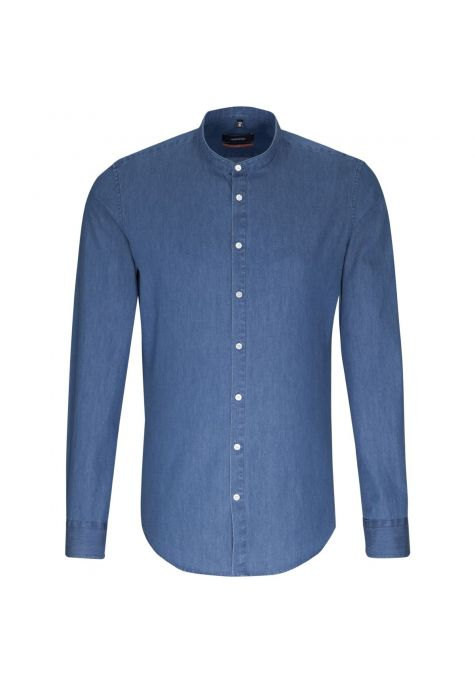 Chemise slim Printed denim col mao